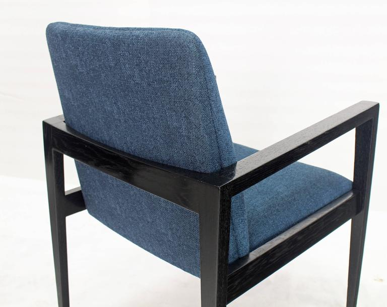 Upholstery Pair of Mid-Century Modern Ebonized Lounge Chairs For Sale
