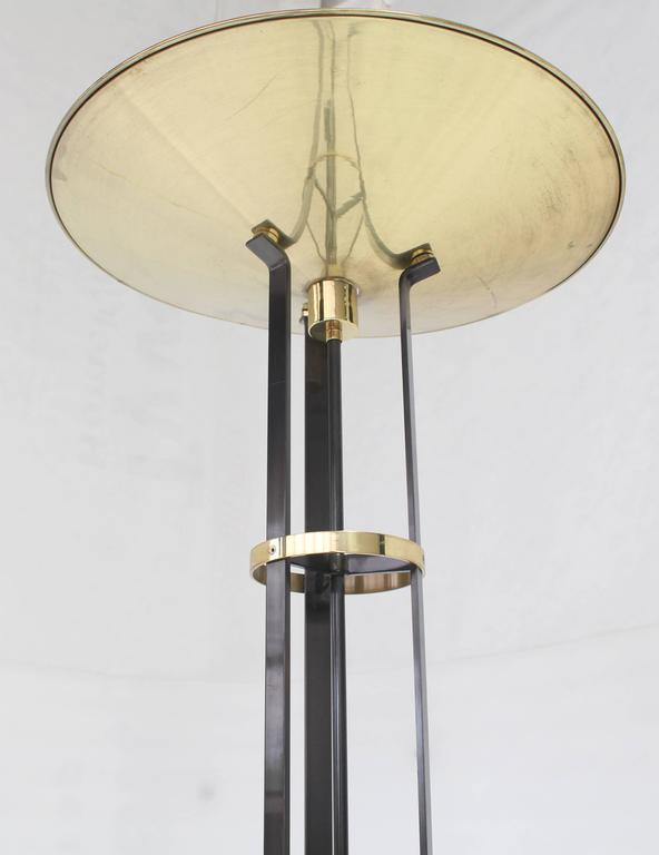 Large Italian Brass Shade Floor Lamp Torchere With Dimmer