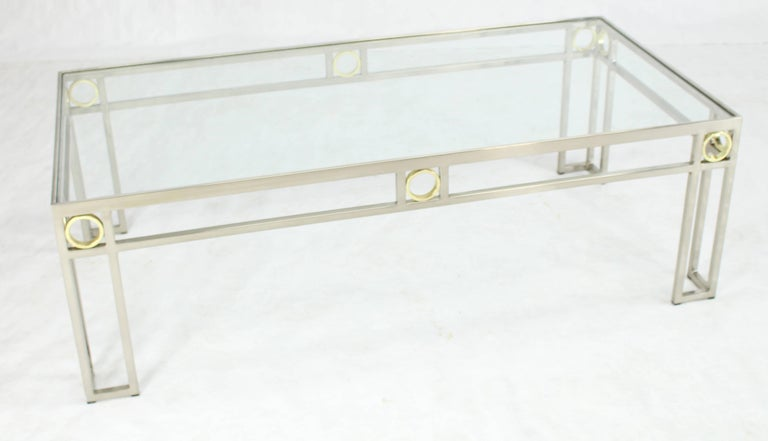 Mid-Century Modern Brass Chrome Glass Rectangular Coffee Table For Sale