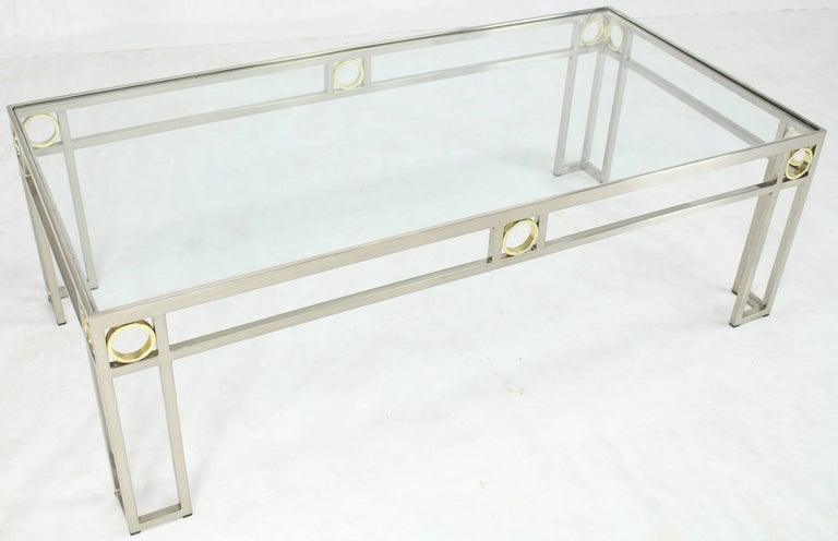 American Brass Chrome Glass Rectangular Coffee Table For Sale