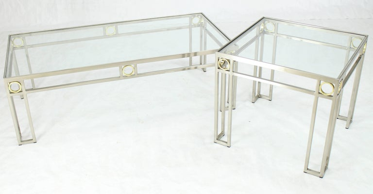 Polished Brass Chrome Glass Rectangular Coffee Table For Sale