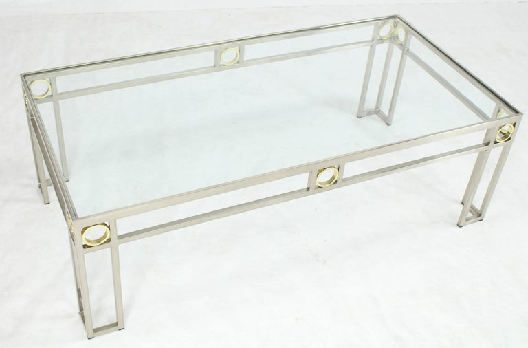 20th Century Brass Chrome Glass Rectangular Coffee Table For Sale