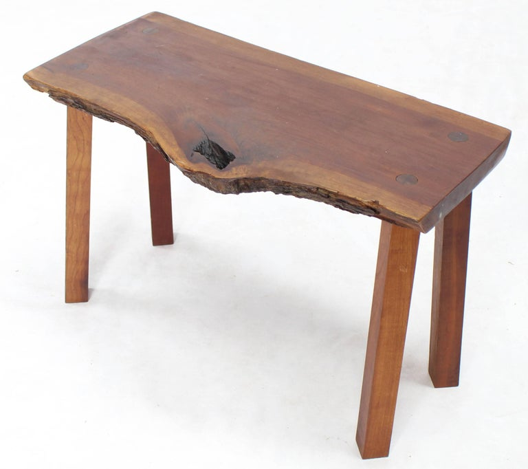 Mid-Century Modern Organic Shape Walnut Bench For Sale