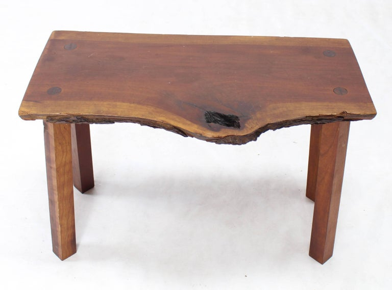 American Organic Shape Walnut Bench For Sale