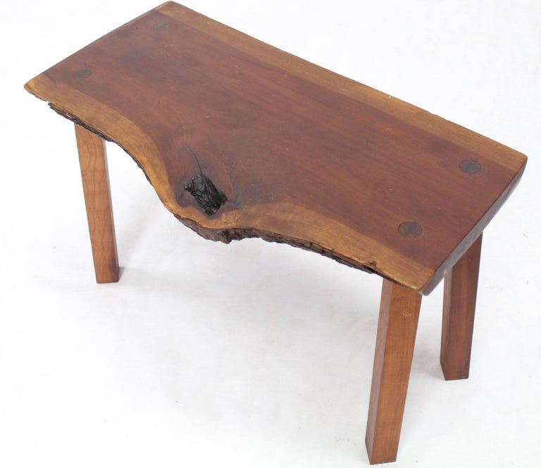Lacquered Organic Shape Walnut Bench For Sale