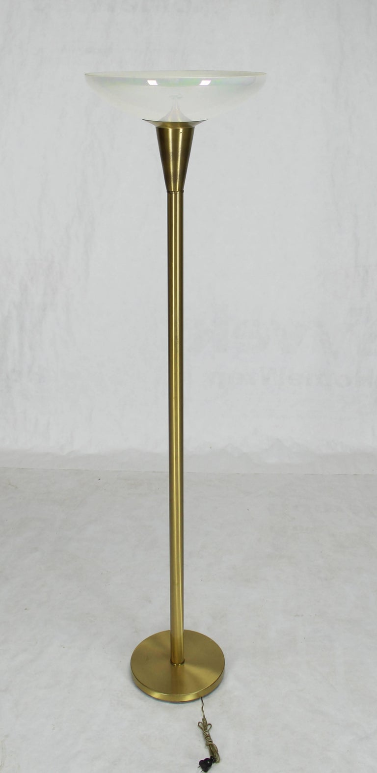 Mid-Century Modern Brass Tall Torchere Floor Lamp Iridescent Shade For Sale