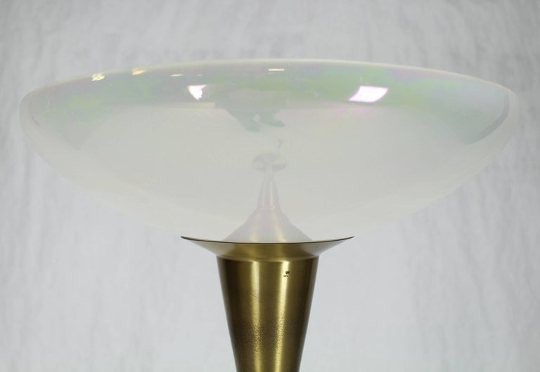 American Brass Tall Torchere Floor Lamp Iridescent Shade For Sale