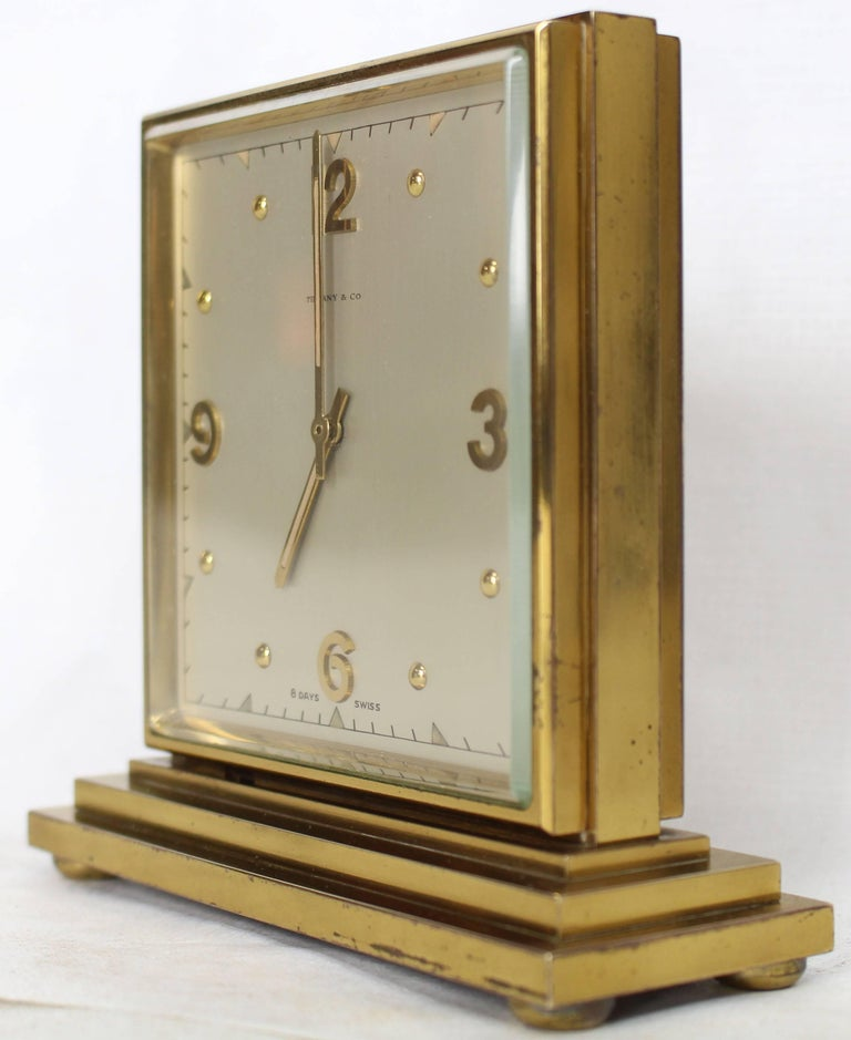Swiss Double Sided Heavy Bronze Square Desk Table Clock For
