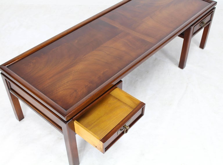 Mahogany double pedestal two drawers rectangular coffee for Coffee tables 30cm wide