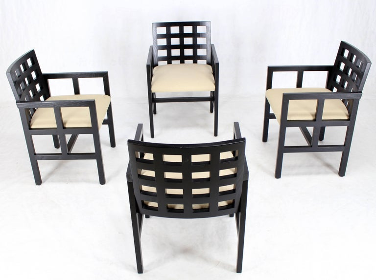 Set of Four Black Side Dining Chairs by Ward Bennet for Brickel Associates 5