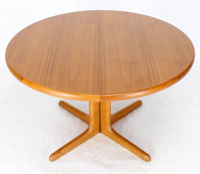 Danish Round Mid Century Modern Teak Dining Table With Two
