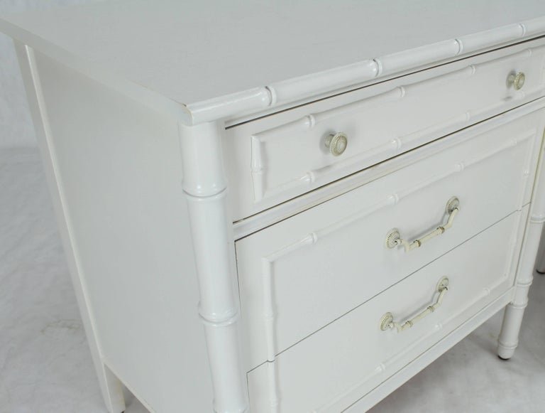 Pair Of White Lacquer Faux Bamboo Large Nightstands Three