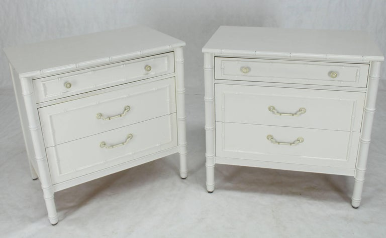 pair of white lacquer faux bamboo large nightstands three drawer bachelor chests for sale at 1stdibs. Black Bedroom Furniture Sets. Home Design Ideas
