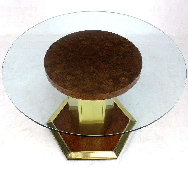 American Round Brass Burl Wood Glass Top Center Dining Conference Table Henredon For Sale