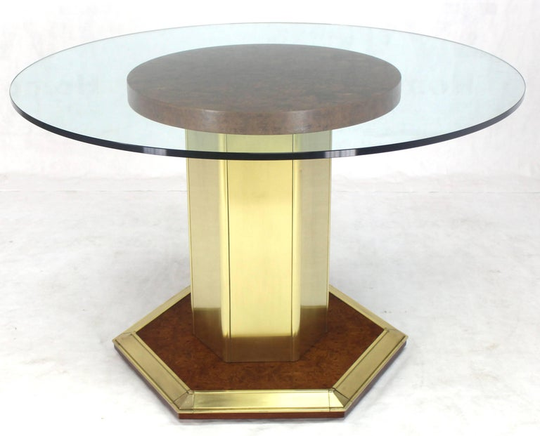 Lacquered Round Brass Burl Wood Glass Top Center Dining Conference Table Henredon For Sale