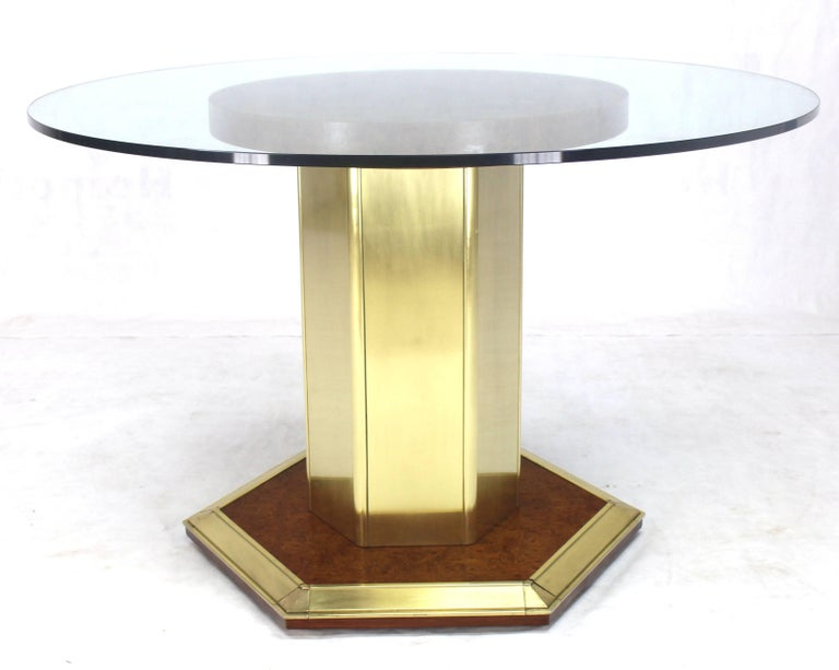 20th Century Round Brass Burl Wood Glass Top Center Dining Conference Table Henredon For Sale