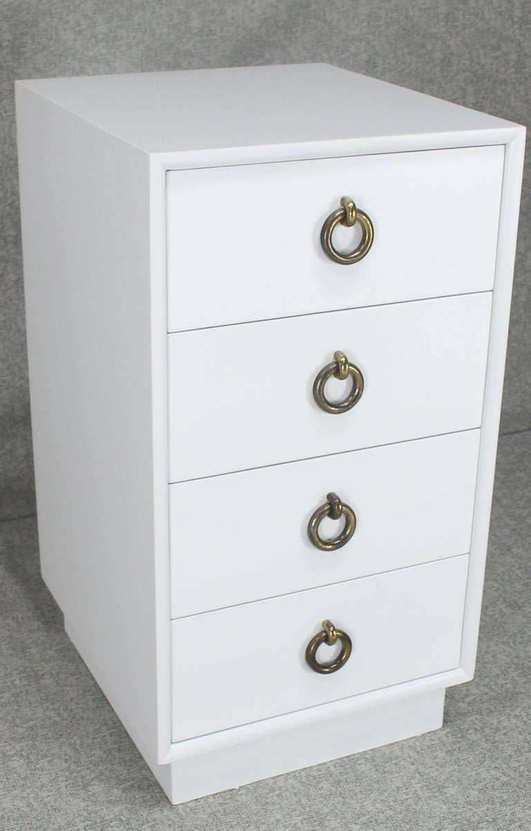 White lacquer mid century modern four drawer cabinet tall for Tall white end table