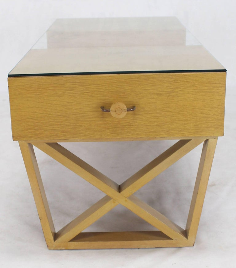 Blond Cerused Oak Glass Top X Base Rectangular Coffee Table Storage Drawers For Sale At 1stdibs