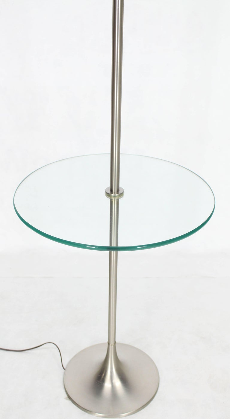 Mid-Century Modern Brushed Finish Metal Glass Built in Table Floor Lamp For Sale