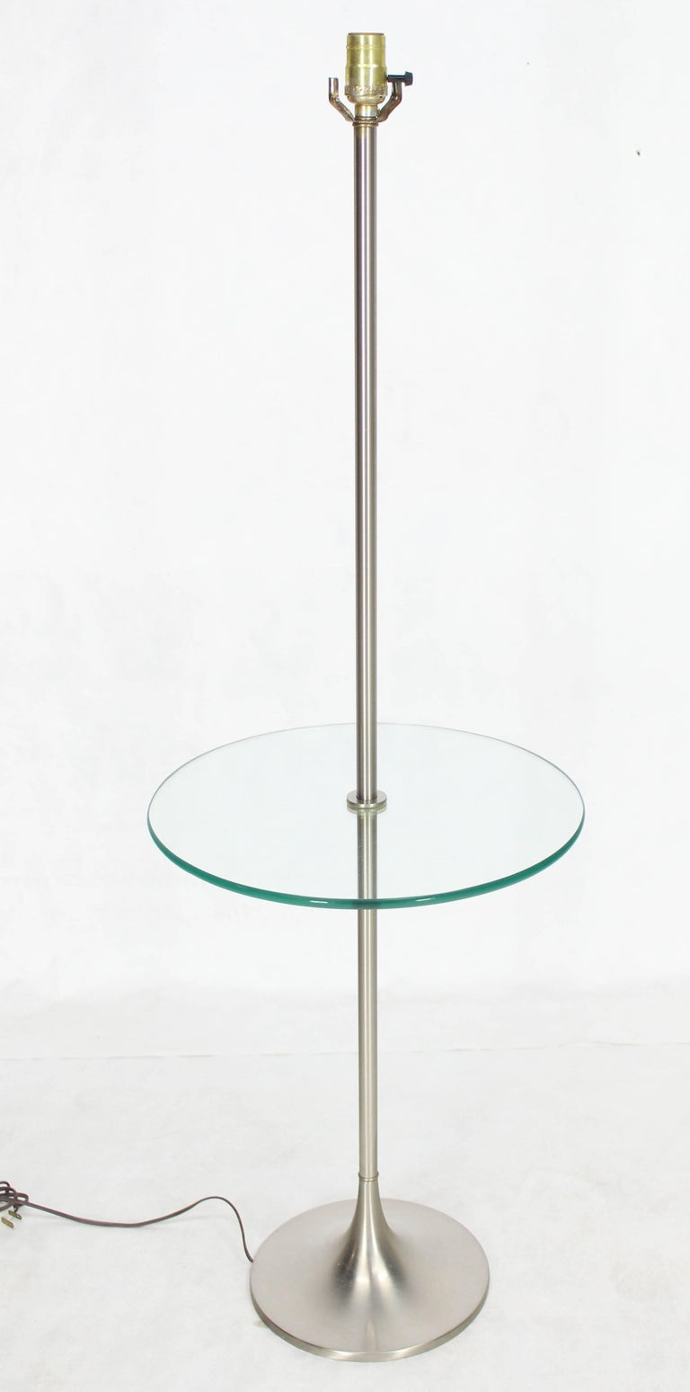 Mid-Century Modern floor lamp with built in round glass side table.