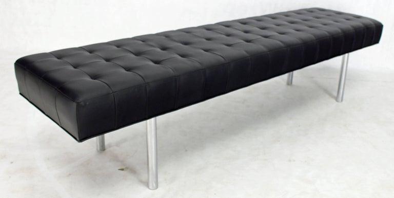 . Tufted Black Upholstery Long Modern Bench on Chrome Cylinder Legs
