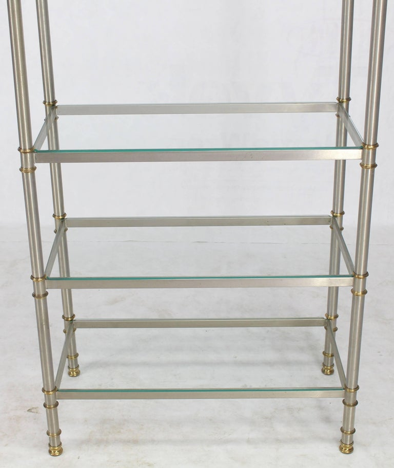 chrome brass glass six shelves tag re display case at 1stdibs. Black Bedroom Furniture Sets. Home Design Ideas