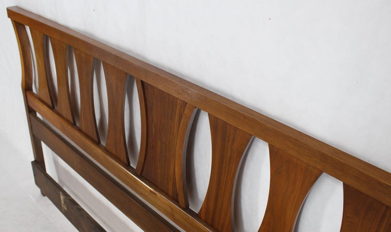 Lacquered King-Size Mid-Century Modern Walnut Headboard Bed For Sale