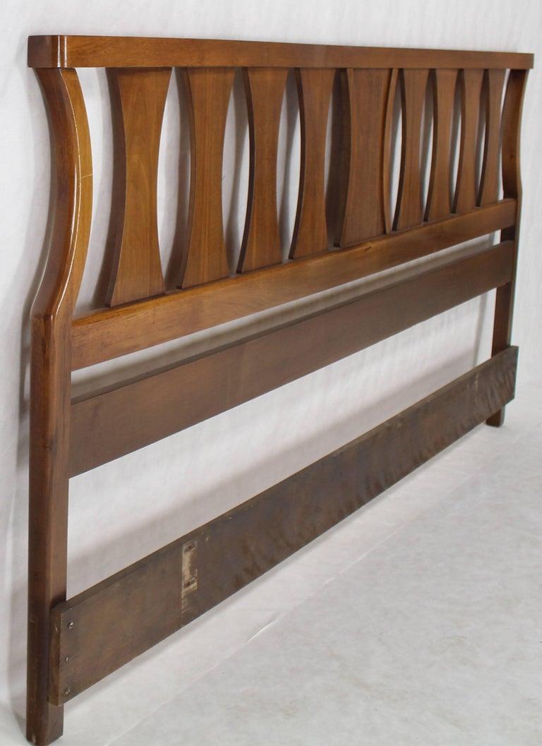 King-Size Mid-Century Modern Walnut Headboard Bed For Sale 1