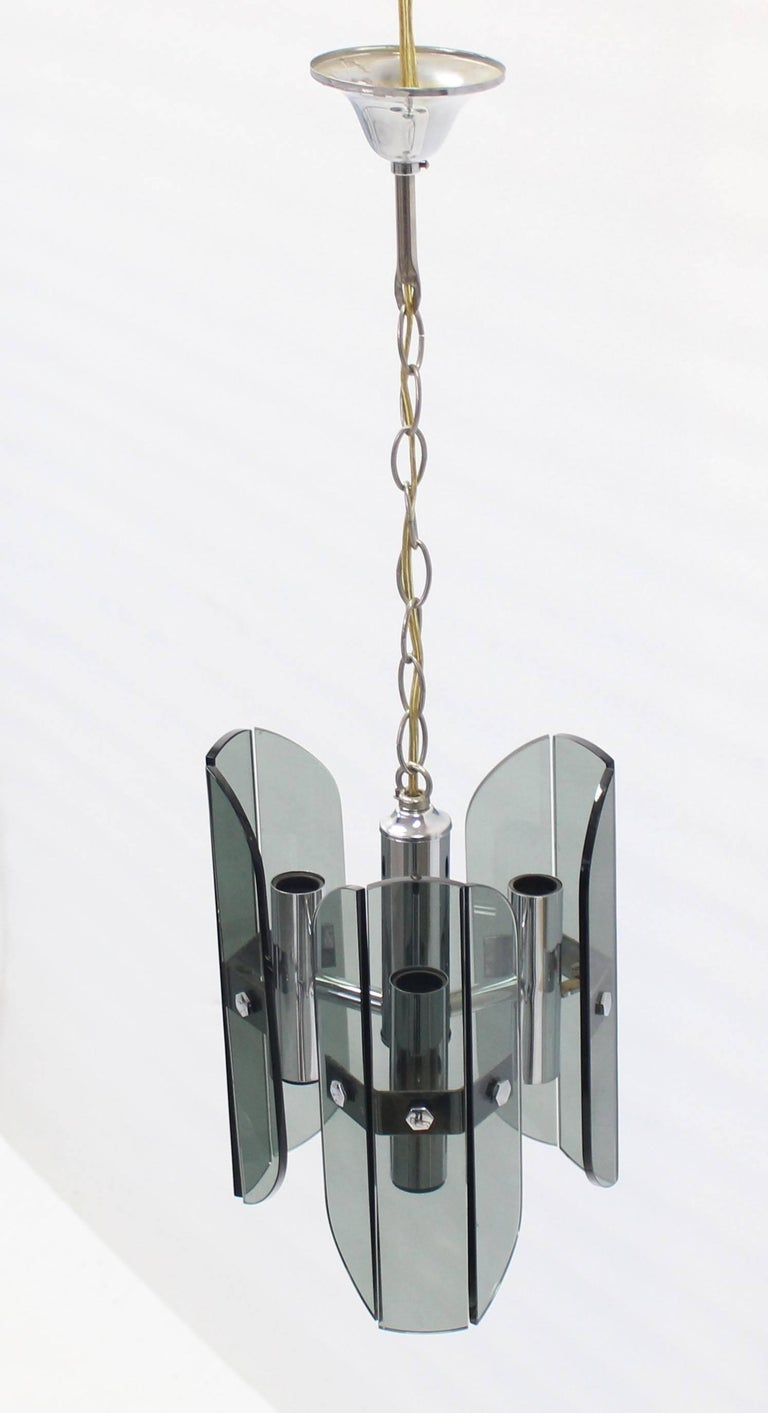 Mid-Century Modern Veca Smoked Glass Chrome Light Fixture Pendant Chandelier For Sale