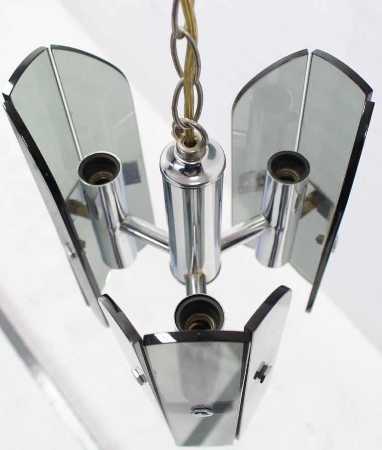 Veca Smoked Glass Chrome Light Fixture Pendant Chandelier In Excellent Condition For Sale In Rockaway, NJ