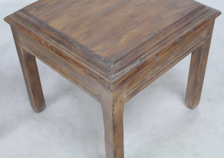 Pair Of Solid Oak Cerused Pickled White Wash Square End