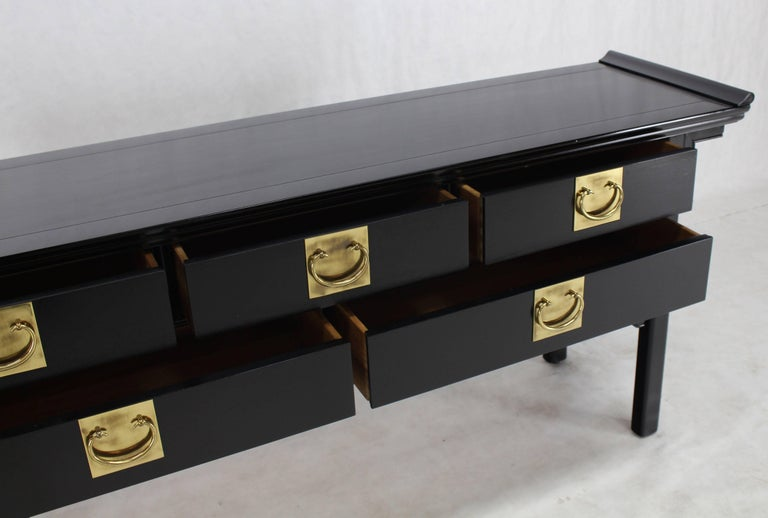 Oriental Mid Century Modern Ebonized Black Lacquer