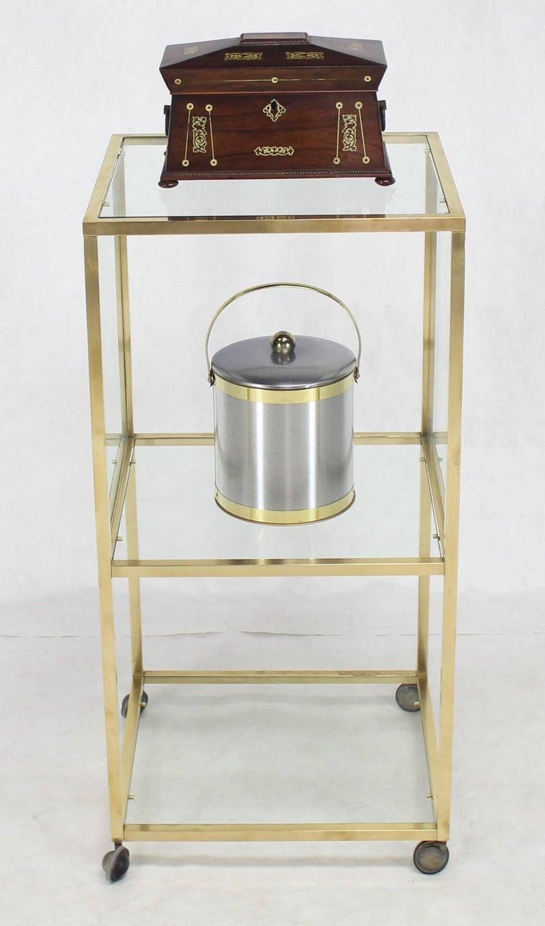 Brass Square Profile Glass Three Tier Cube Shape Cart