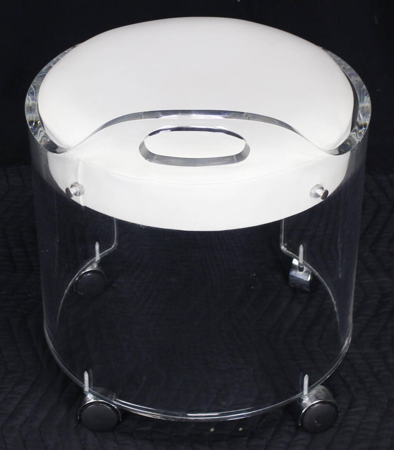 Round Bent Lucite Upholstered Bench Stool On Wheels For