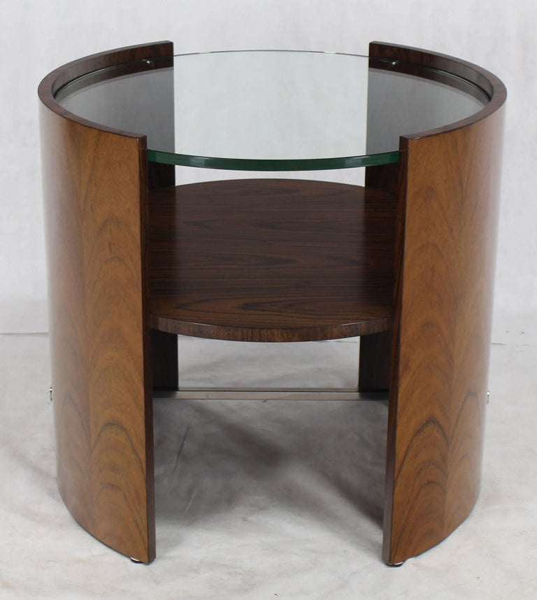 Rosewood round glass top barrel shape side occasional for Glass top occasional tables