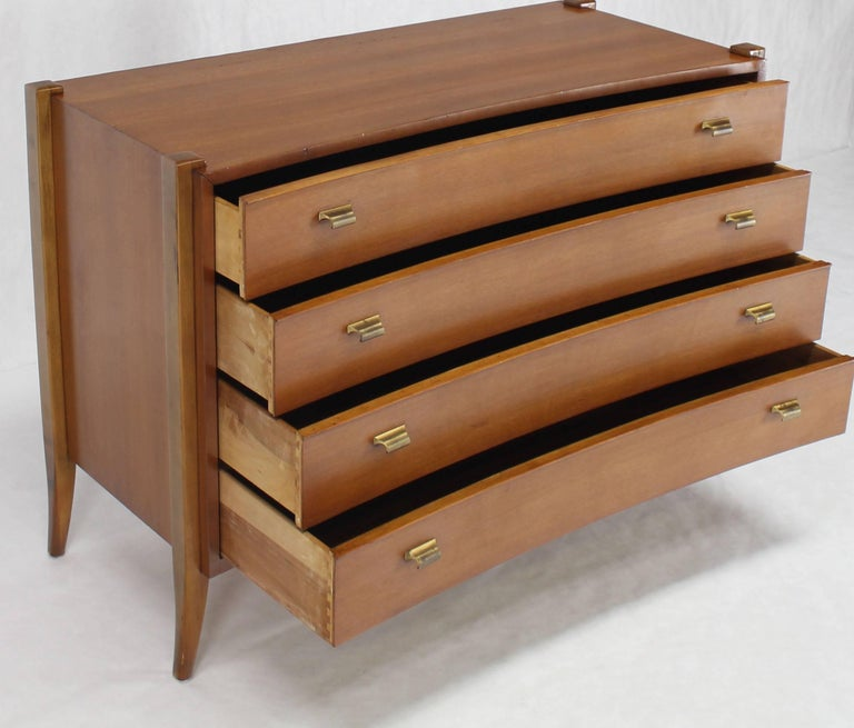 American Bow Front Mid-Century Modern Bachelor Four Drawers Chest Dresser Brass Pulls For Sale
