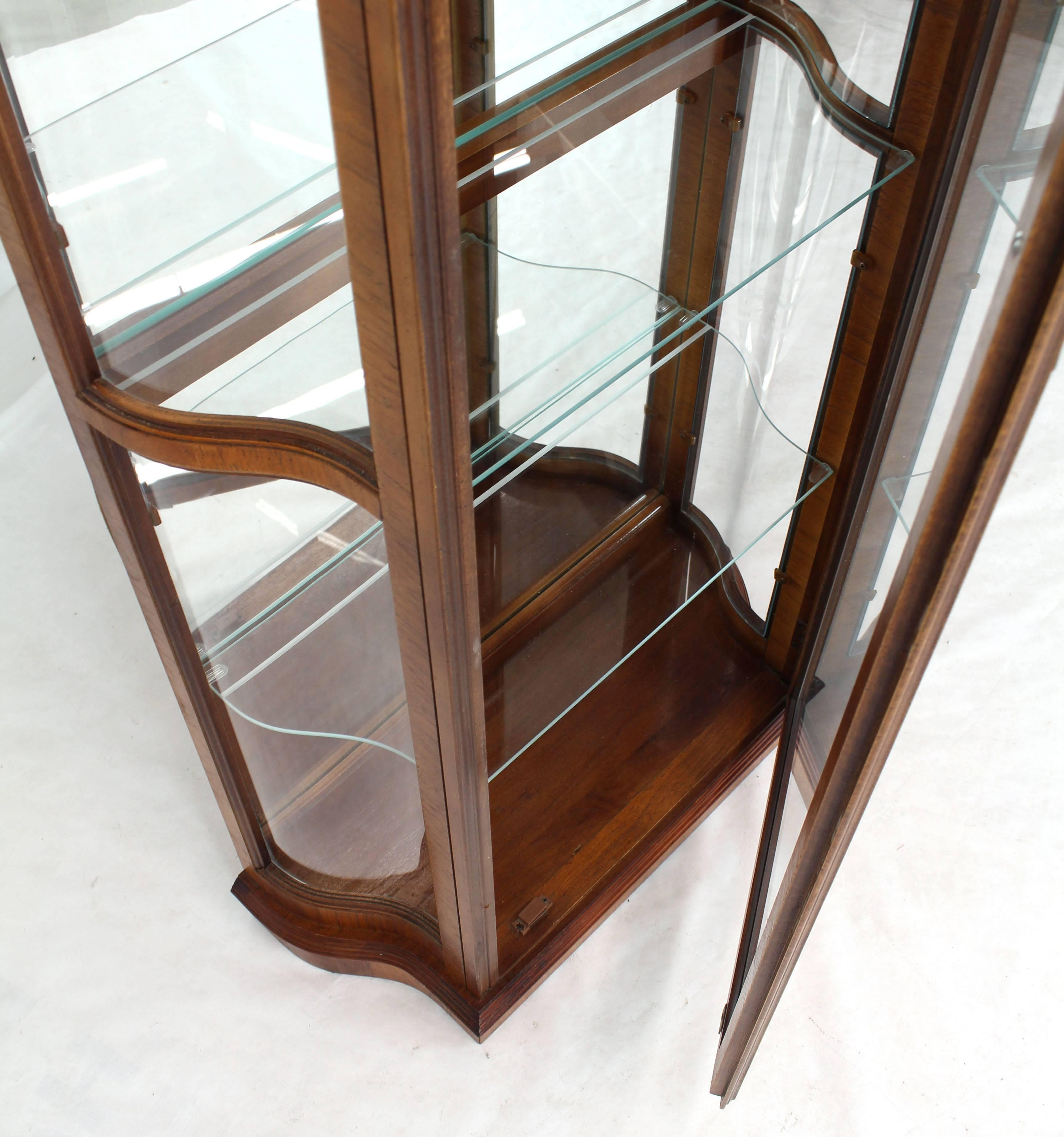 Neoclassical Tall Narrow Walnut And Mahogany Curved Glass Curio Cabinet For  Sale