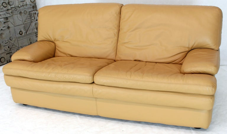 20th Century Roche Bobois Light Peach Leather Loveseat Small Sofa For Sale