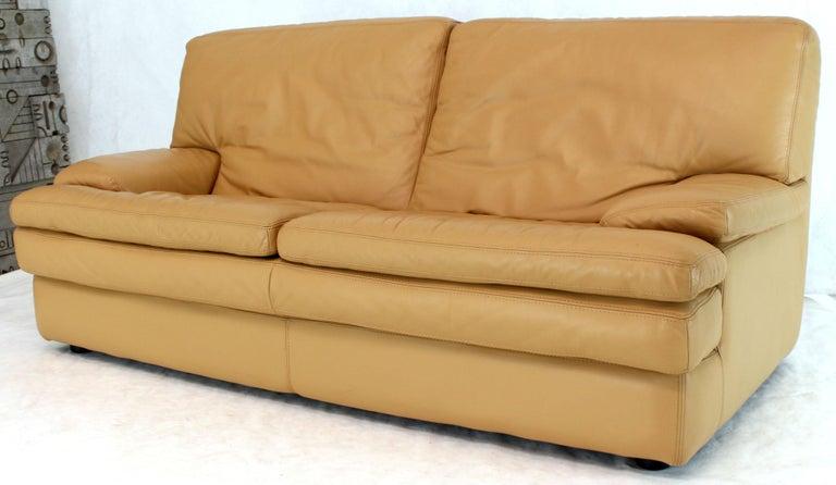 Roche Bobois Light Peach Leather Loveseat Small Sofa For Sale 2