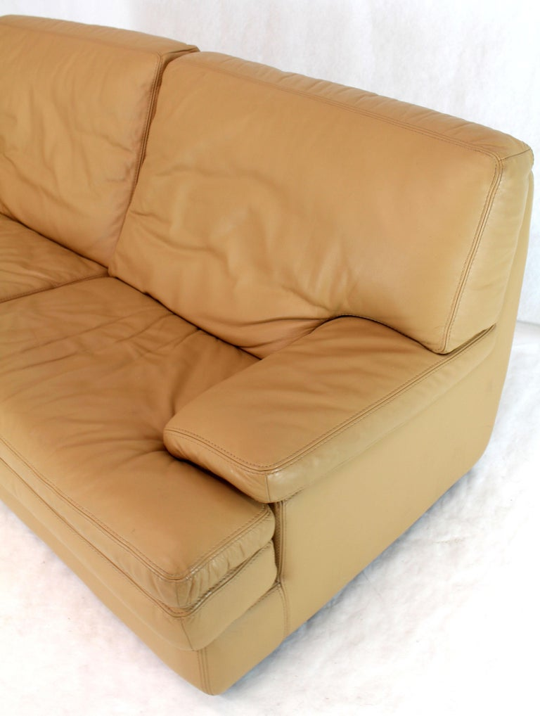 Roche Bobois Light Peach Leather Loveseat Small Sofa For Sale 4