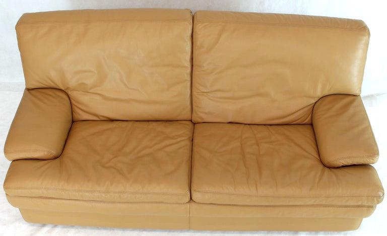 Roche Bobois Light Peach Leather Loveseat Small Sofa For Sale 5
