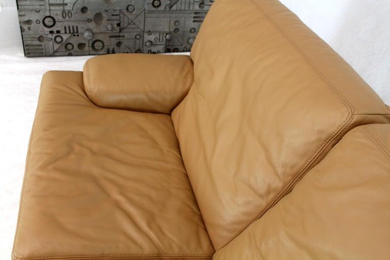 Roche Bobois Light Peach Leather Loveseat Small Sofa For Sale 3