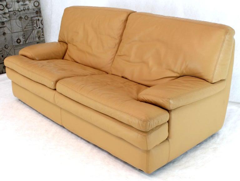 Roche Bobois Light Peach Leather Loveseat Small Sofa For Sale 1