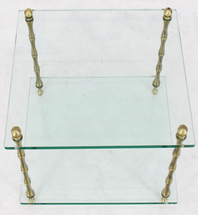 American Glass Faux Bamboo Brass Cube Square Side Table Stand For Sale