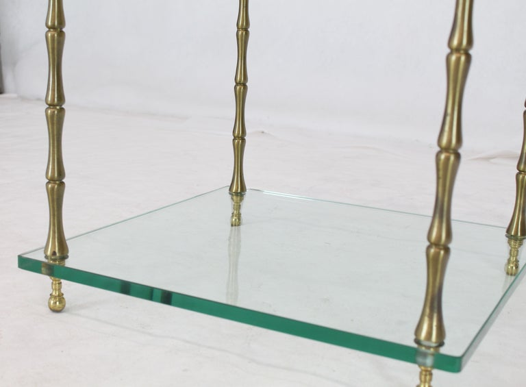 Glass Faux Bamboo Brass Cube Square Side Table Stand In Good Condition For Sale In Elmwood Park, NJ