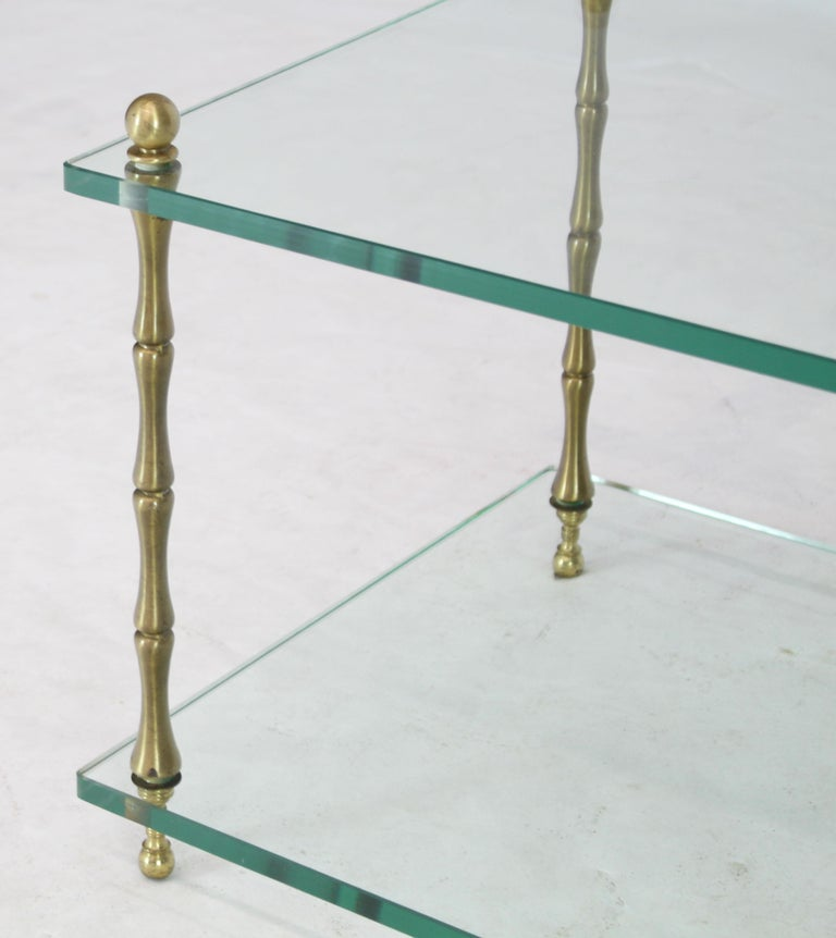 Glass Faux Bamboo Brass Cube Square Side Table Stand For Sale 2