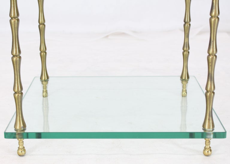 Glass Faux Bamboo Brass Cube Square Side Table Stand For Sale 3