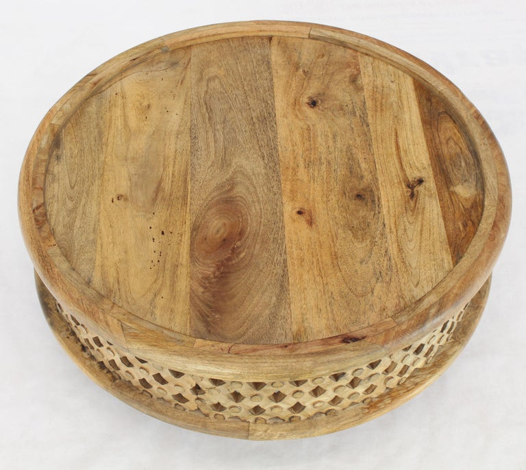 Unknown Round Solid Teak Pierced Carving Coffee Table Stand For