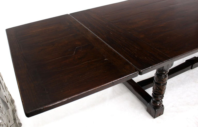 Massive Gothic Solid Dark Oak Expandable Farm Table Two Leafs Fine Carving In Good Condition For Sale In Blairstown, NJ