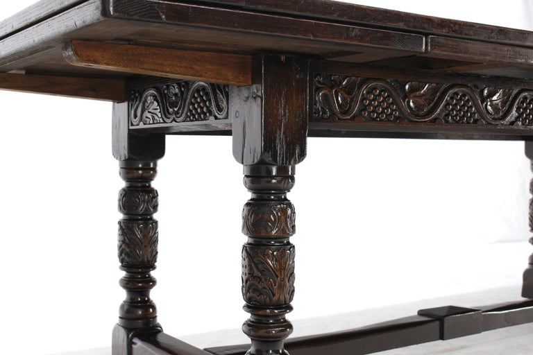 American Massive Gothic Solid Dark Oak Expandable Farm Table Two Leafs Fine Carving For Sale